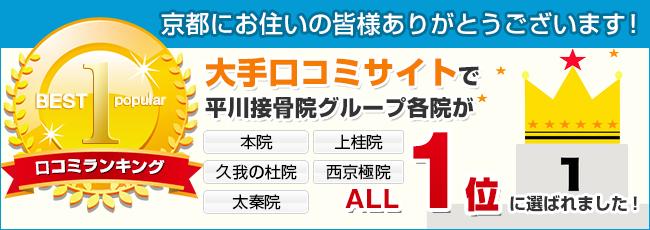 大手口コミサイトで平川接骨院グループ各院が1位獲得