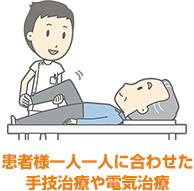 患者様一人一人に合わせた手技治療や電気治療