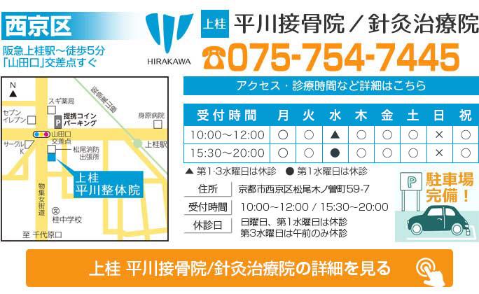 京都市西京区 - 上桂 平川接骨院/針灸治療院