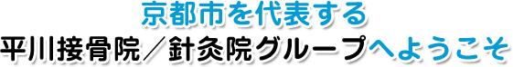 京都市を代表する平川接骨院/針灸院グループへようこそ