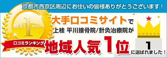 上桂 平川接骨院/針灸治療院が京都市西京区で口コミ1位獲得!